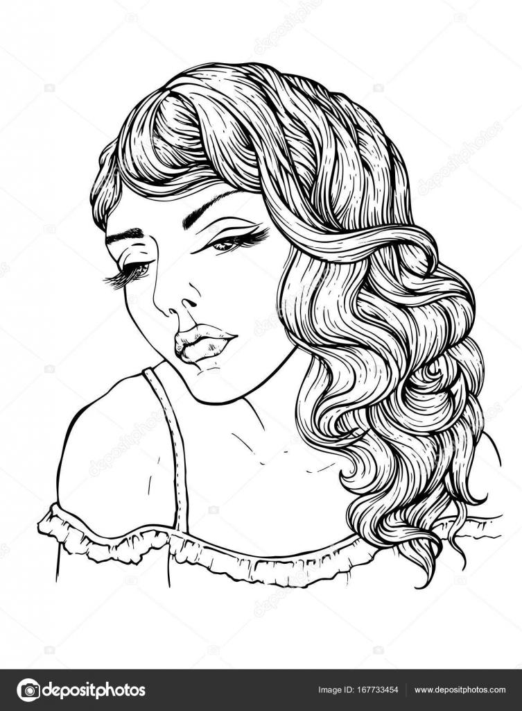 Muchacha con el pelo ondulado, sin colorear ilustración de vector ...