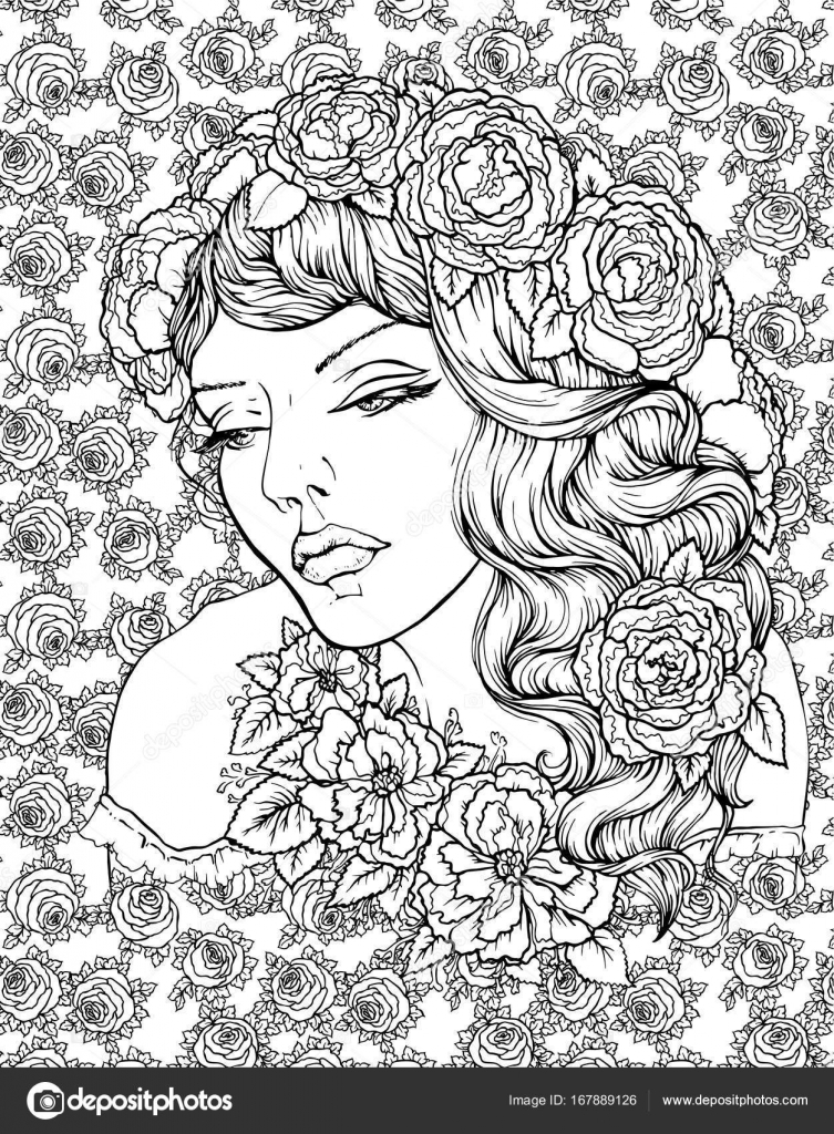 Cara de niña bonita elegante boho con guirnalda sobre fondo floral ...