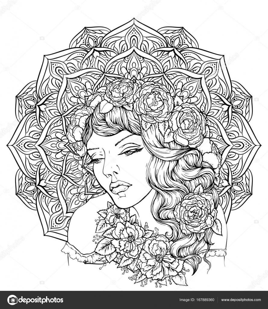 Yüz Zarif Mandala Arka Plan üzerinde çiçek çelenk Ile çok şık Boho