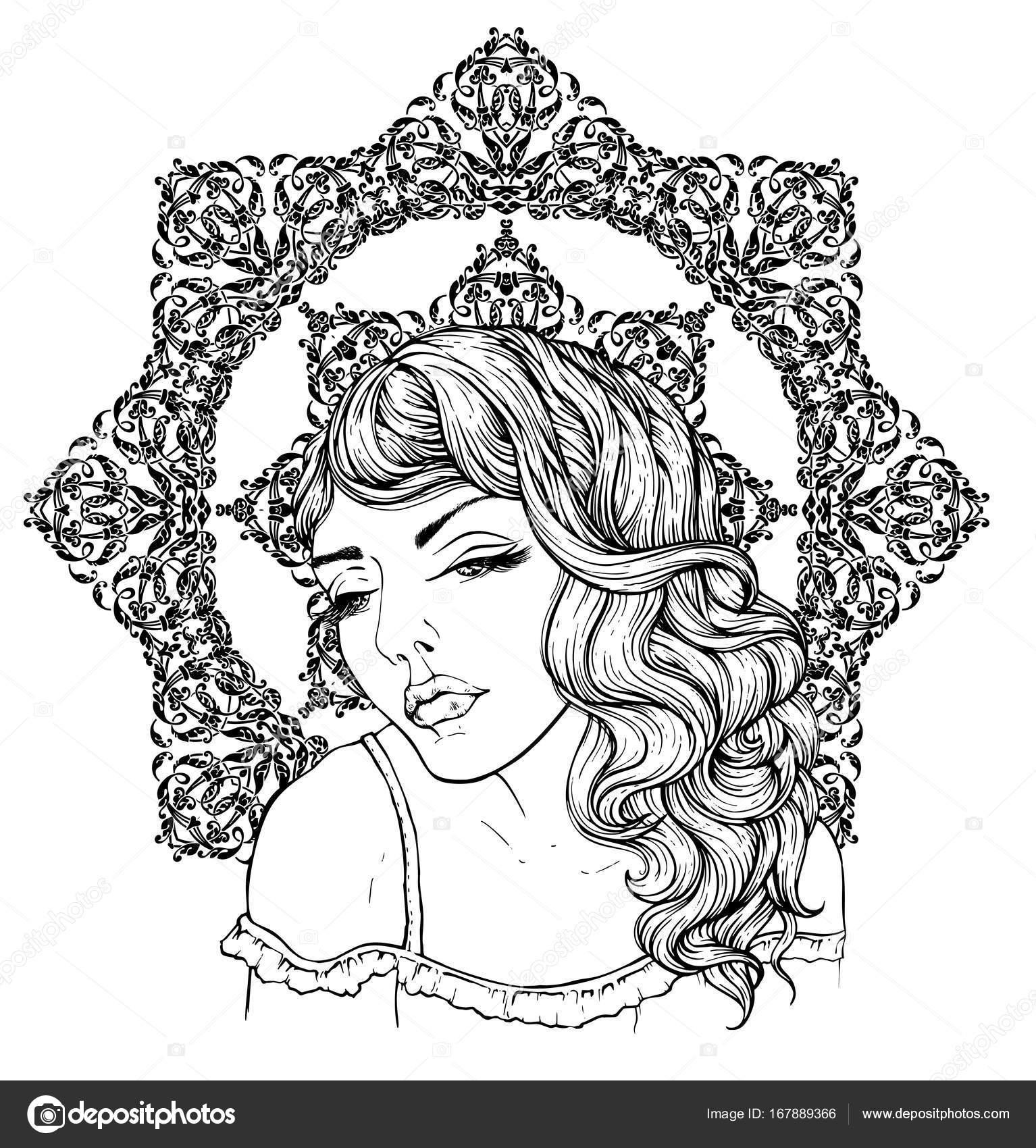Cara de niña boho muy elegante en fondo exquisito mandala. Hermoso ...