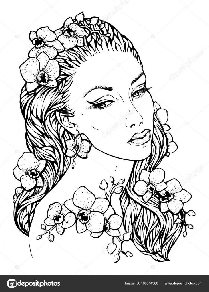 Sehr elegante Boho Mädchen mit Blumenkranz machte der Orchidee ...