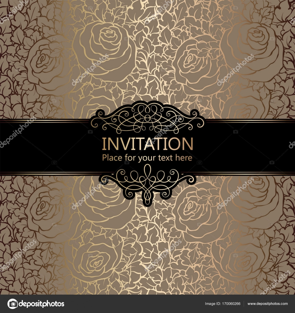 Abstract background with roses luxury beige and gold vintage frame abstract background with roses luxury beige and gold vintage frame damask floral wallpaper ornaments invitation card with place for text baroque style stopboris Image collections