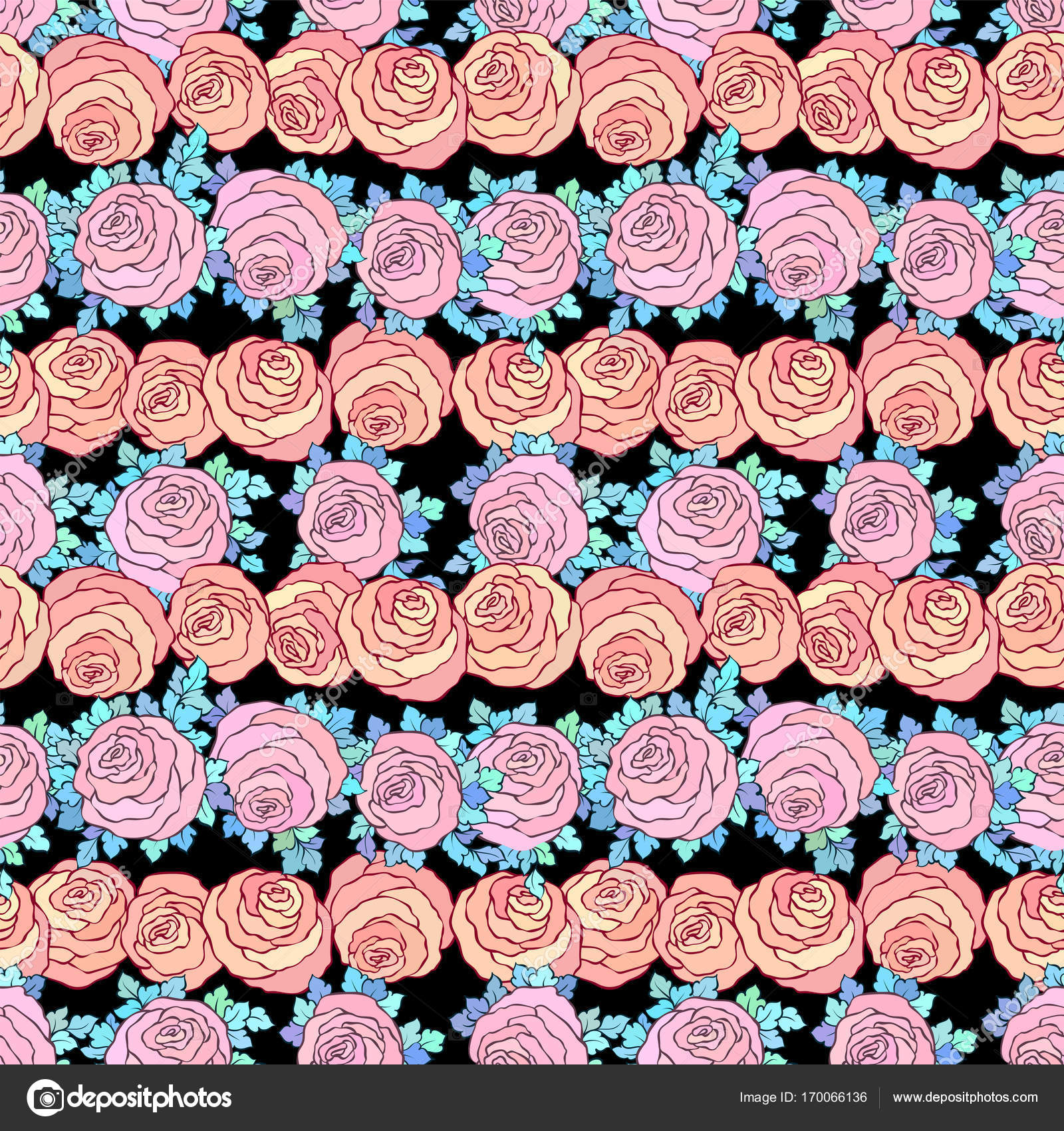 Floral Decorative Bright Wallpaper With Cute Roses Seamless