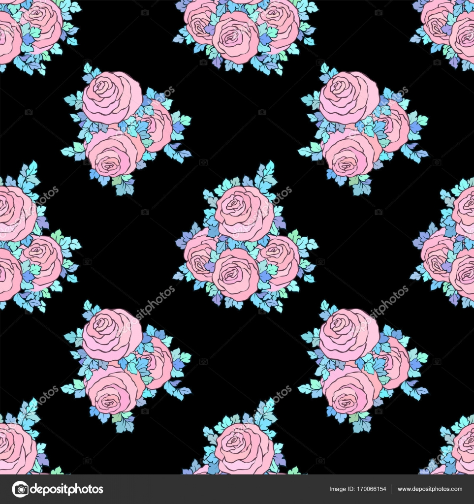 Floral Decorative Bright Wallpaper With Cute Roses Seamless Pattern