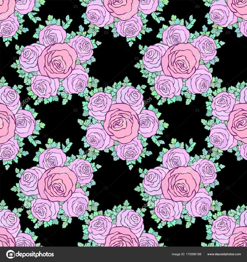 Floral brillante papel pintado decorativo con rosas lindos patr n en colores rosa pastel sobre - Papel autoadhesivo decorativo ...