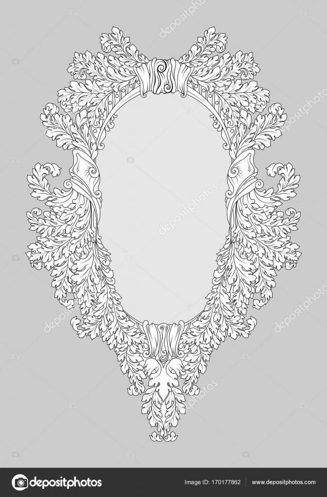 Specchio in stile barocco rococ cornice decori ricco di lusso francese vettoriale intagliato - Specchio in francese ...