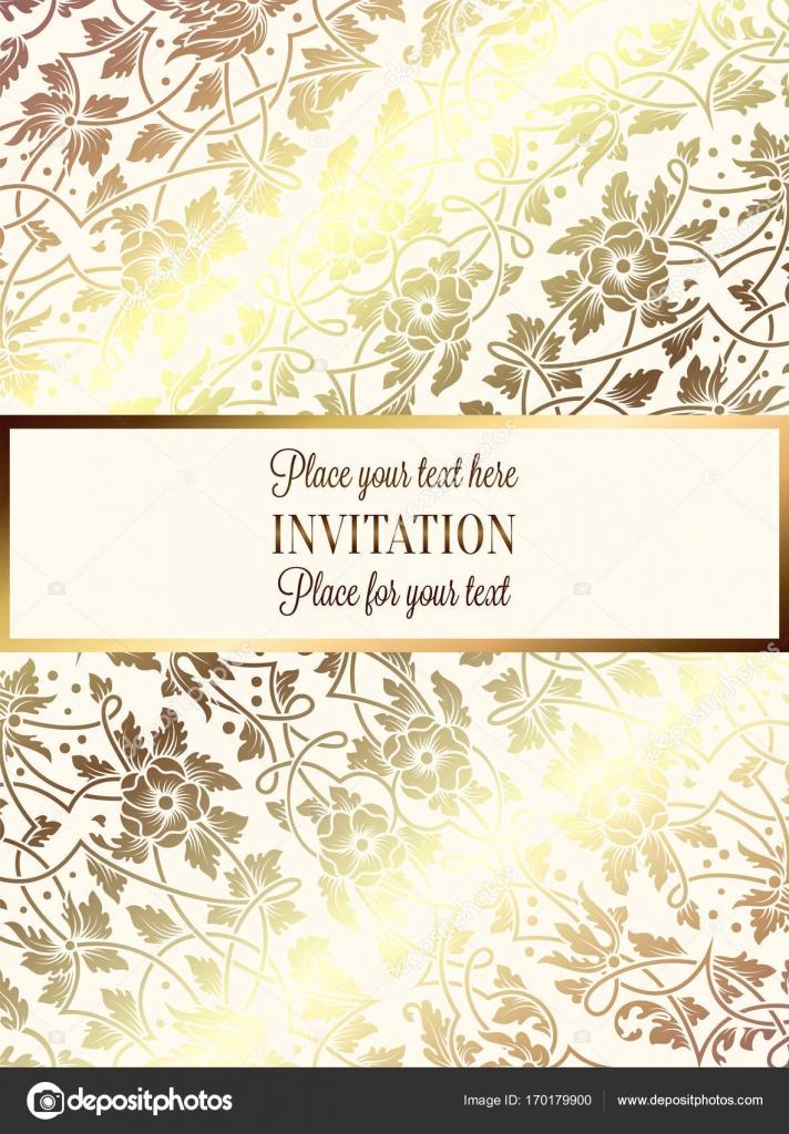 Intricate Baroque Luxury Wedding Invitation Card Rich Gold Decor On