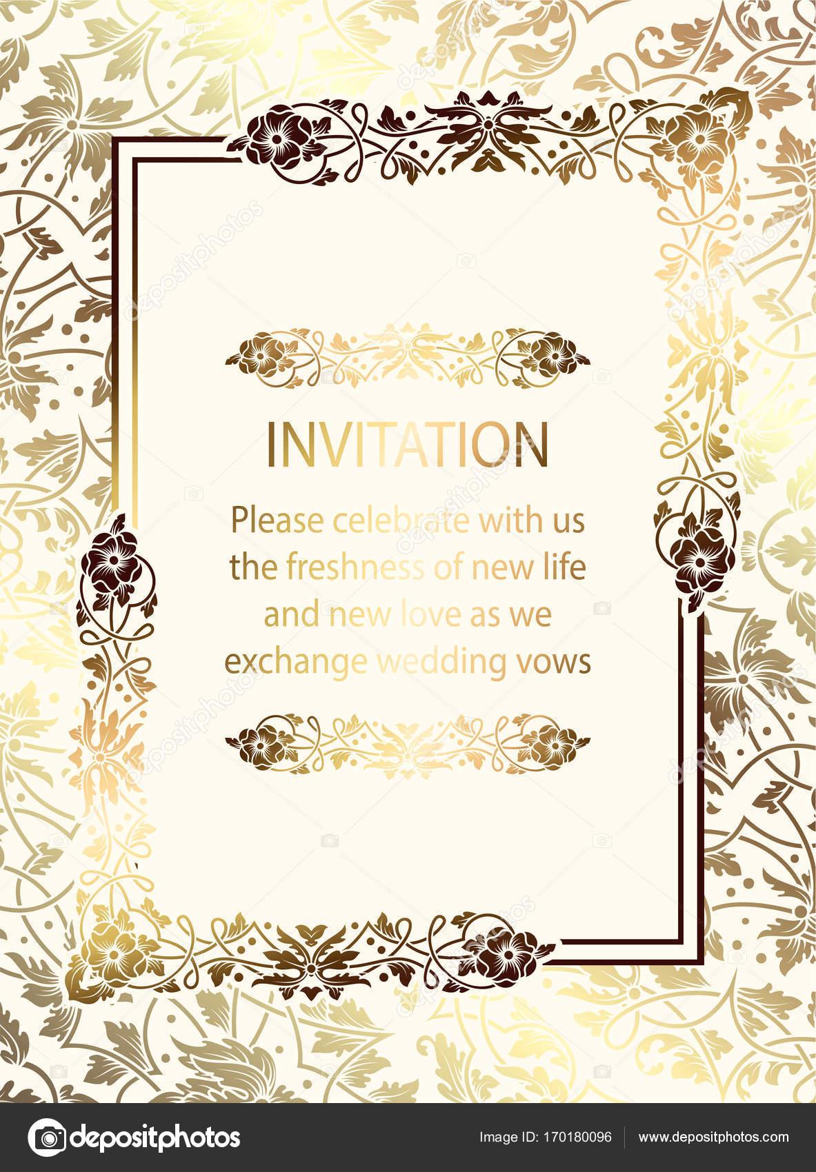 Carte D Invitation Mariage Luxe Baroque Complexe Riche Decor Or Sur