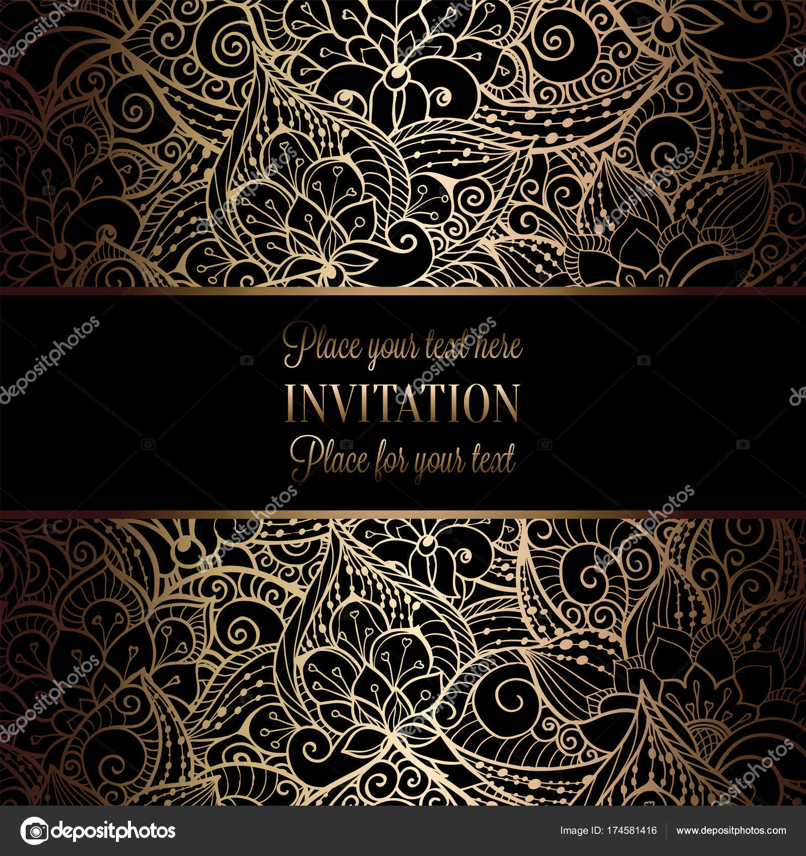 Vintage baroque Wedding Invitation template with damask background.  Tradition decoration for wedding. Vector illustration in black and gold —  Stock Vector © MiaMilky #174581416