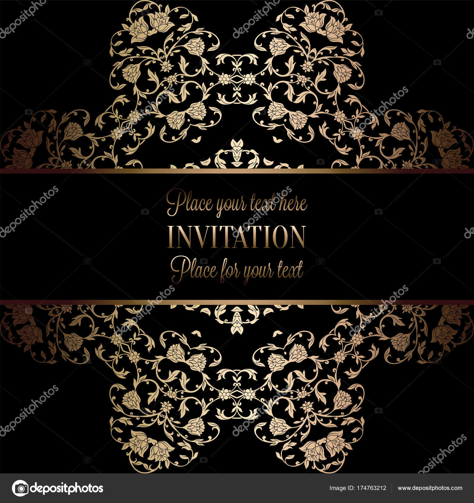 Vintage baroque wedding invitation template with damask background vintage baroque wedding invitation template with damask background tradition decoration for wedding vector illustration in black and gold stopboris Images