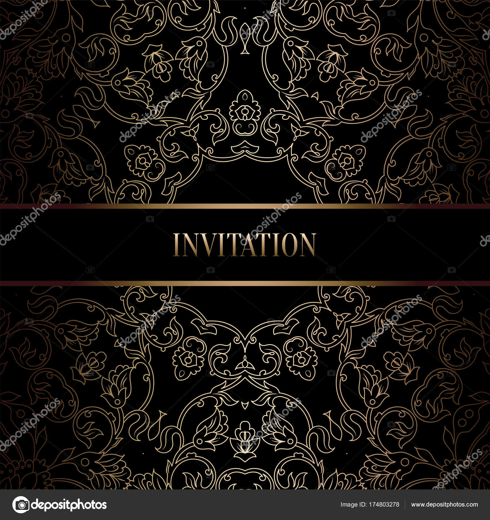 Vintage baroque Wedding Invitation template with damask background.  Tradition decoration for wedding. Vector illustration in black and gold —  Stock Vector © MiaMilky #174803278