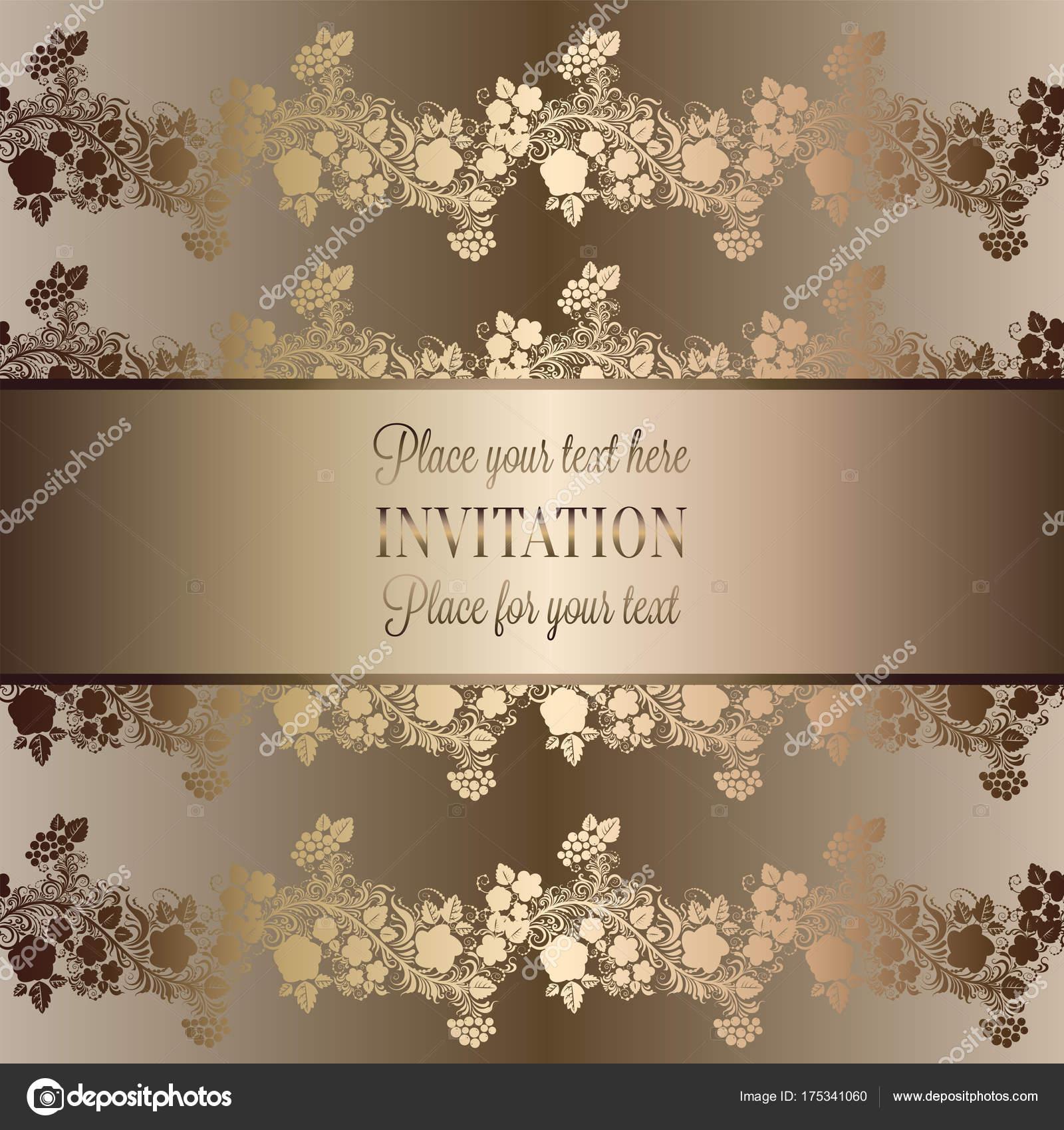 Imagenes Fondos De Invitaciones De Boda Vintage Barroco Plantilla - Fondo-invitacion-boda