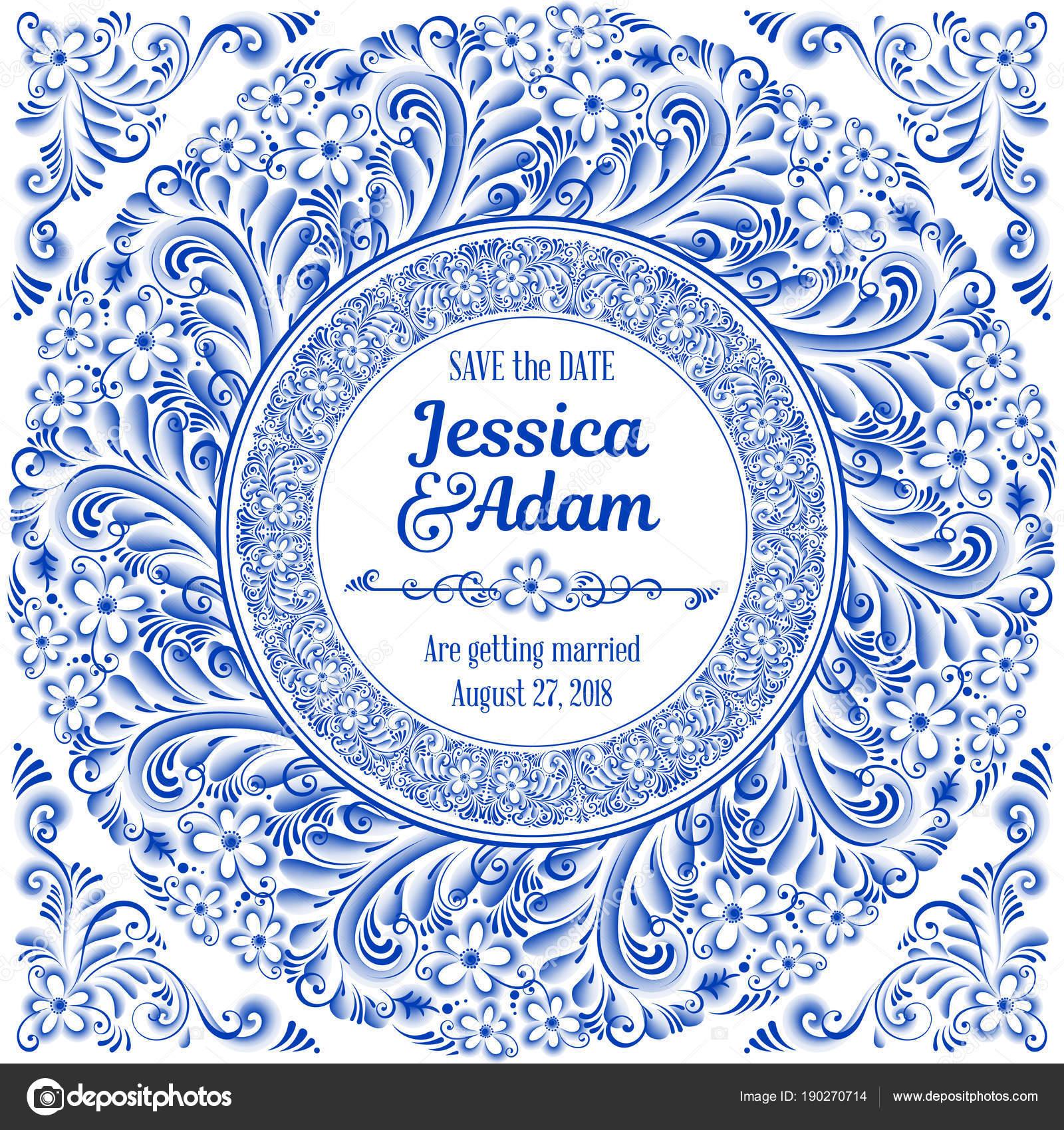 Hochzeit Einladungskarte In Russischen Traditionellen Bemalung Kunst Stil  Gzhel. Blaue Blumen Und Schriftrollen, Exquisite