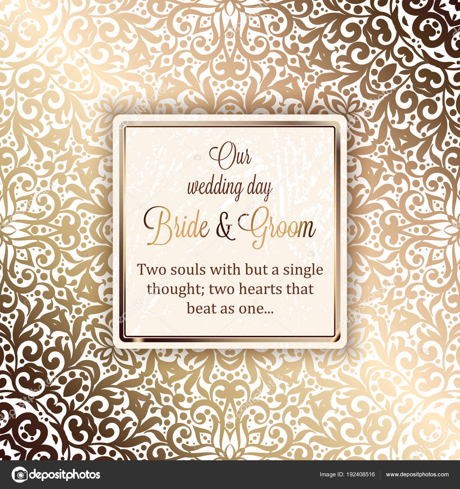 Gold Wedding Invitation Card Template Design Damask Pattern