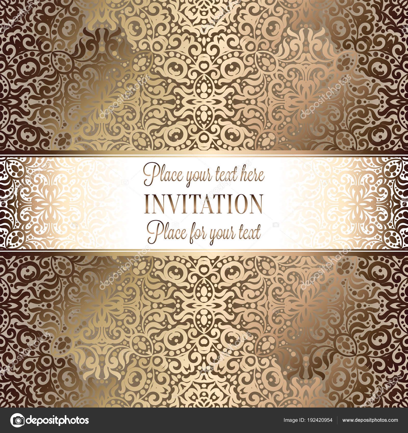 Diseno Plantilla Tarjeta Oro Invitacion Boda Con Patron Damasco - Fondo-invitacion-boda