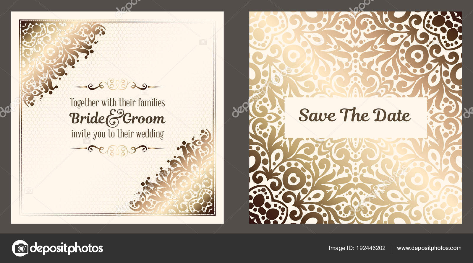 Wedding Invite Card Stock: Gold Wedding Invitation Card Template Design Damask