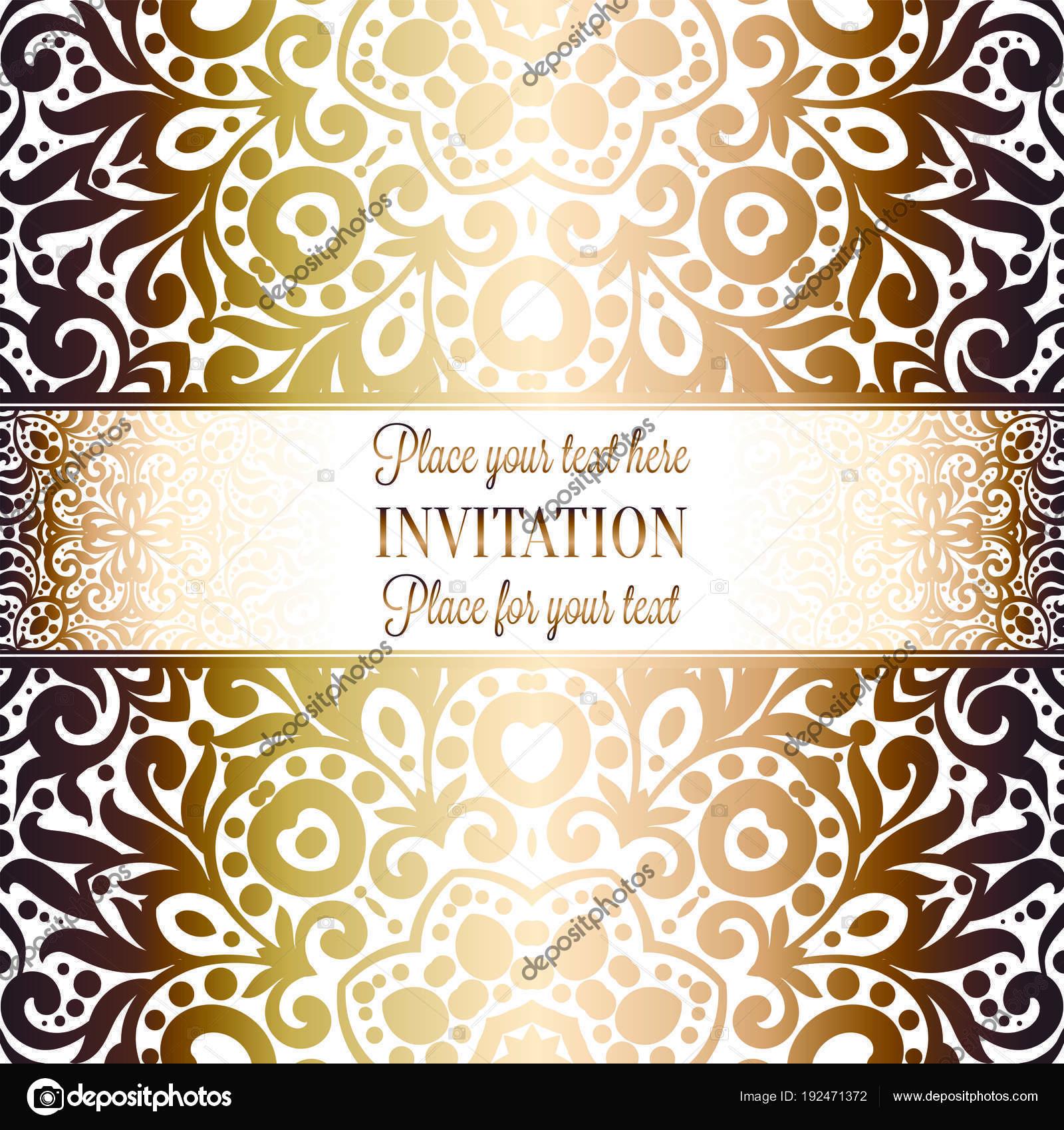 Gold Wedding Invitation Card Template Design Damask Pattern