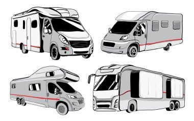 cars Recreational Vehicles Camper Vans Caravans Icons.