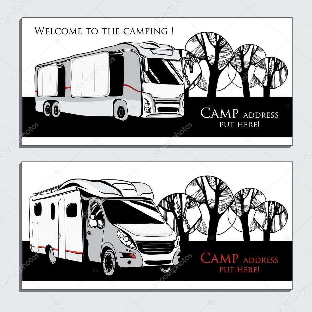 Ilustración de coches remolques Camper furgonetas caravanas — Vector ...