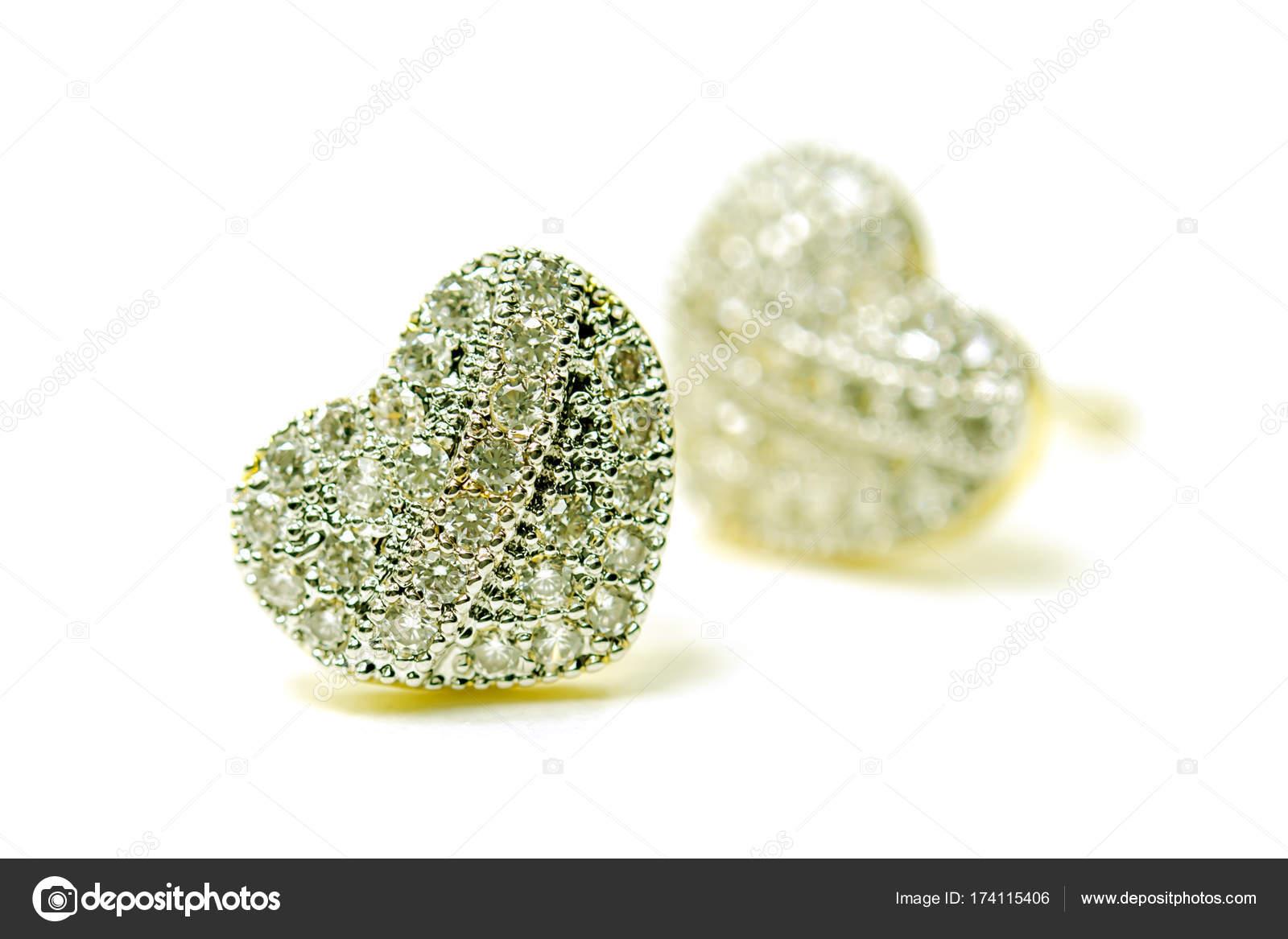 Guld hänge cameo örhänge smycken i hjärtat forma med diamant jag — Stockfoto 6ac12e78a0058