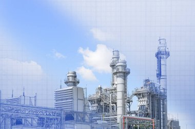 The abstract scene of real and blueprint of power plant