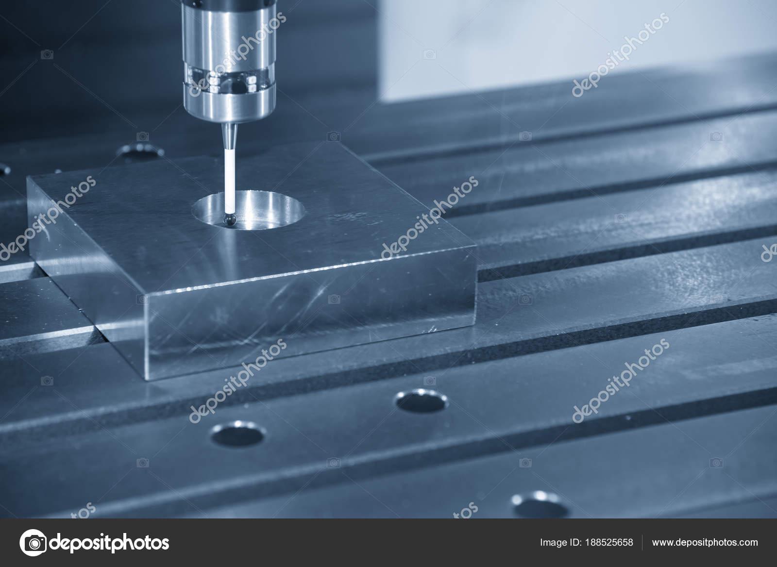 The CNC machine attach the CMM probe measure the dimension of ci ...