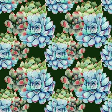 Succulents watercolor pattern
