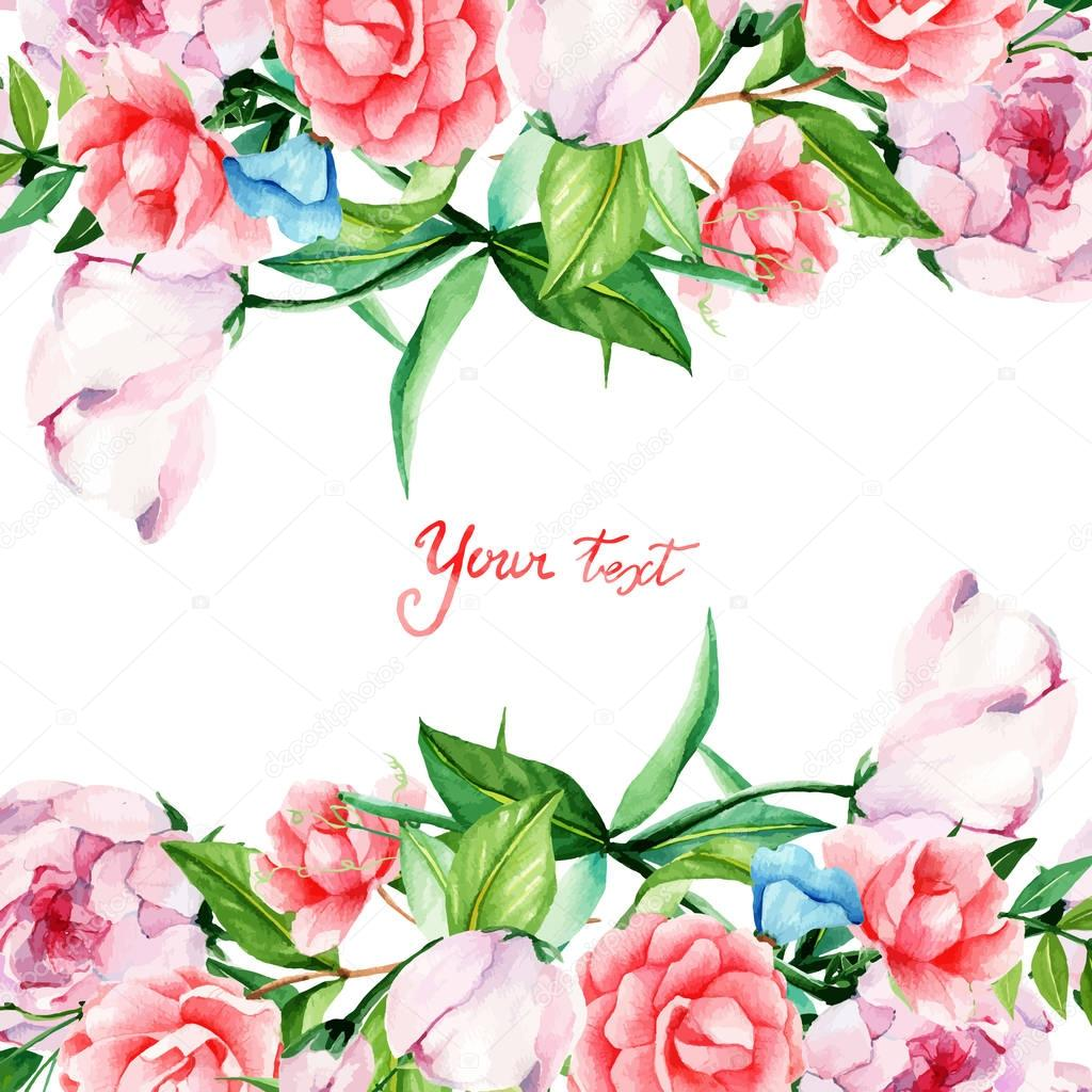 Card for you, handmade, watercolor, flowers arrangement, flowers, buds, peonies, camellias, Proteus, the frame on the left side. stock vector