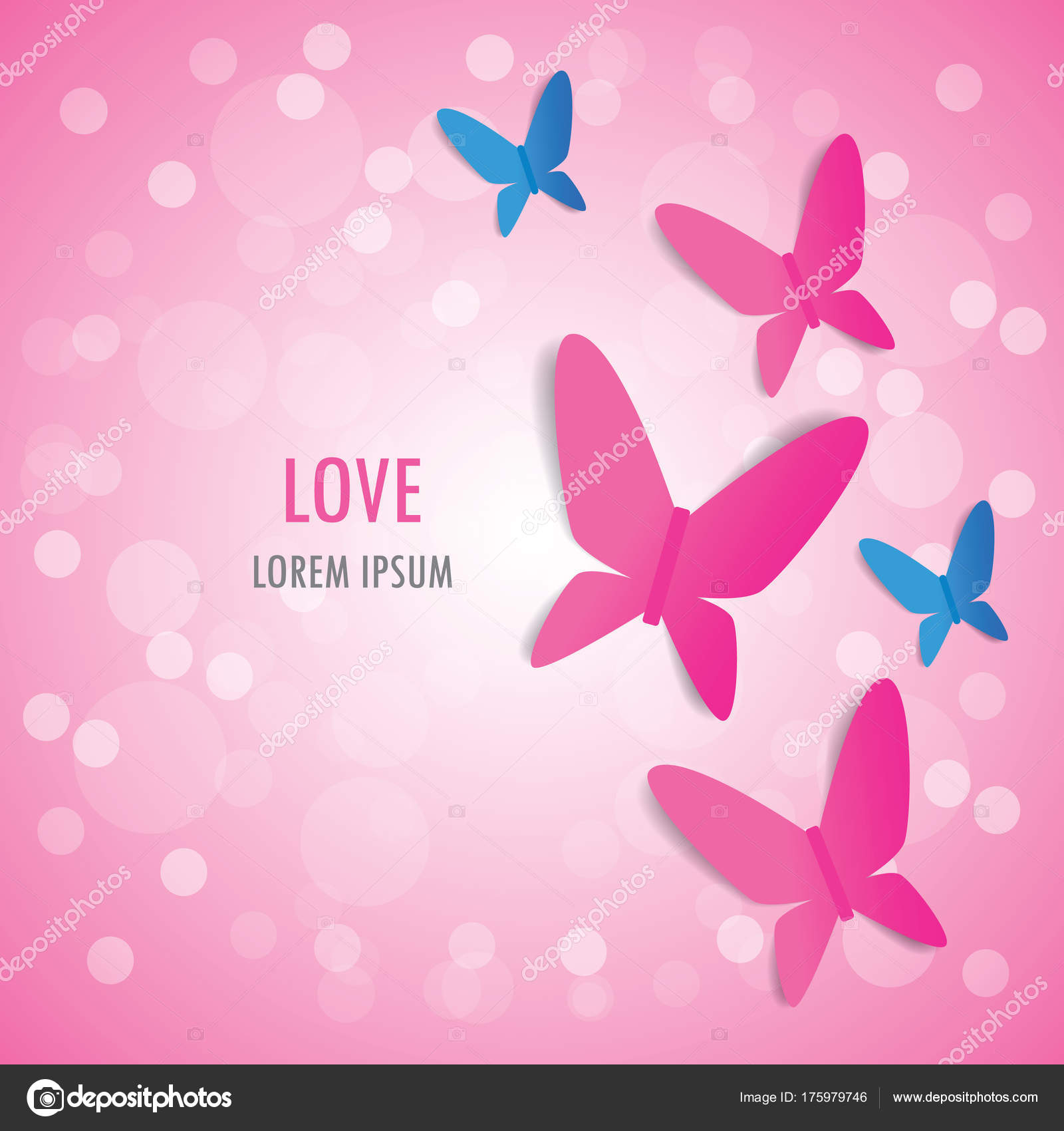 Love Valentine Day Greeting Card Background Pink Blue Butterfly Pink
