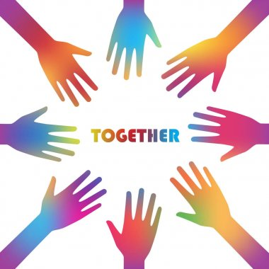 Colorful together and cooperation background graphic design