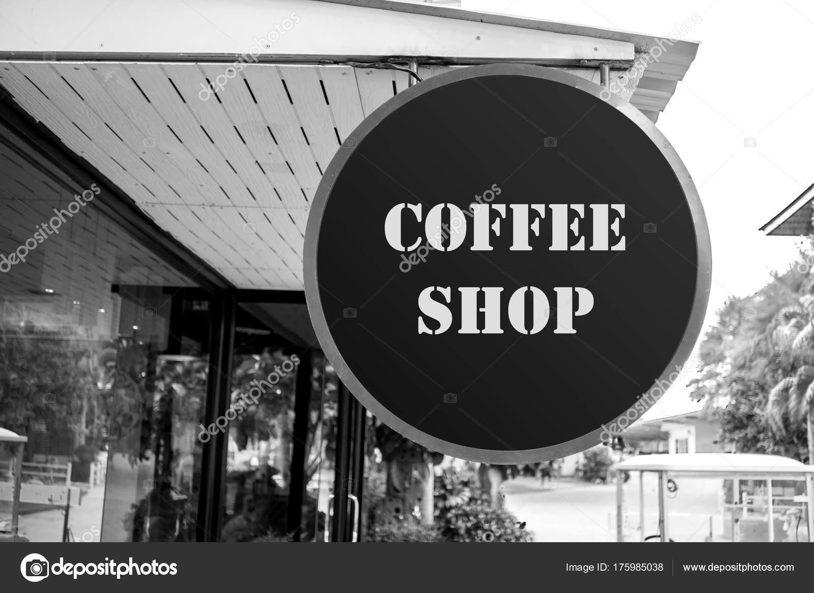Coffee Shop Board Ideas Coffee Shop Coffee Cafe Sign Board Front Shop Black White Stock Photo C Mantinov 175985038