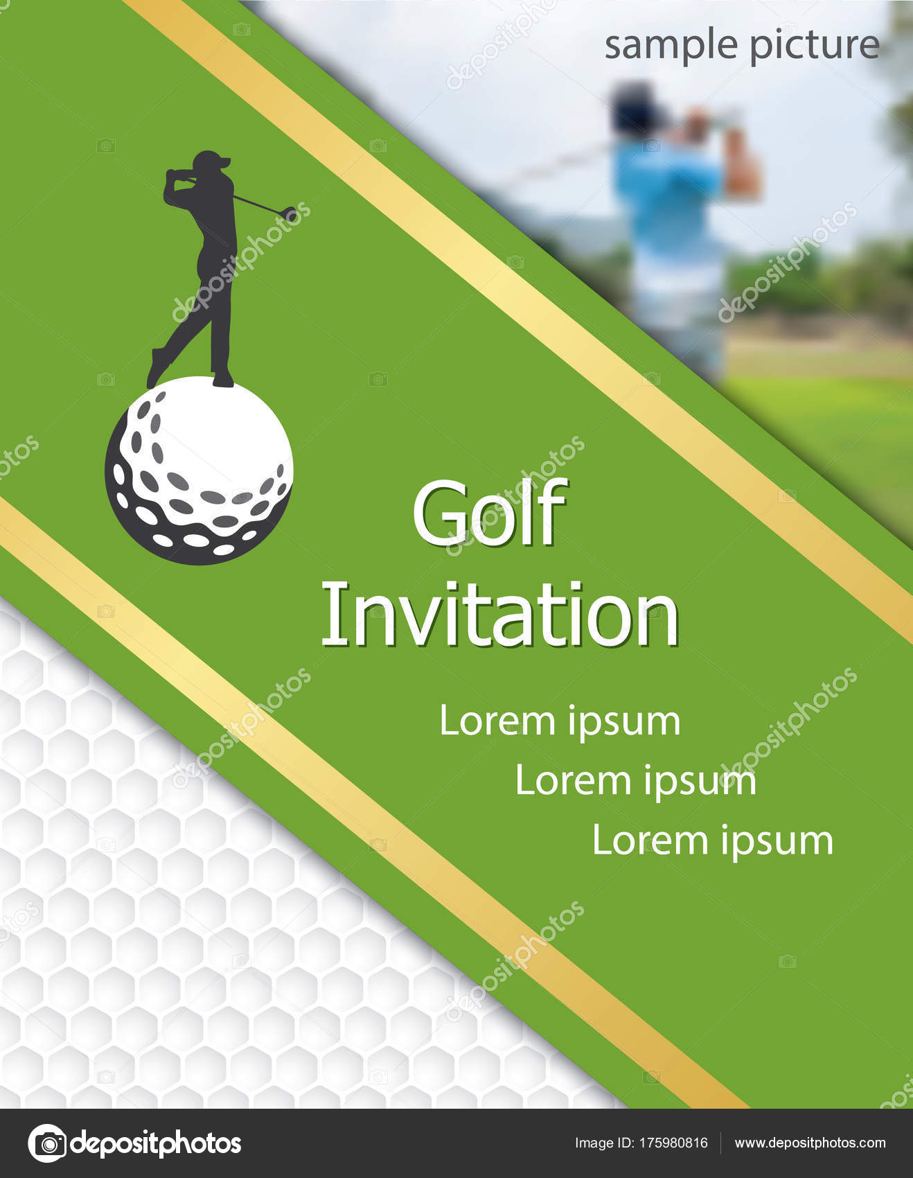 golf tournament invitation flyer template graphic design golfer swinging golfball stock vector