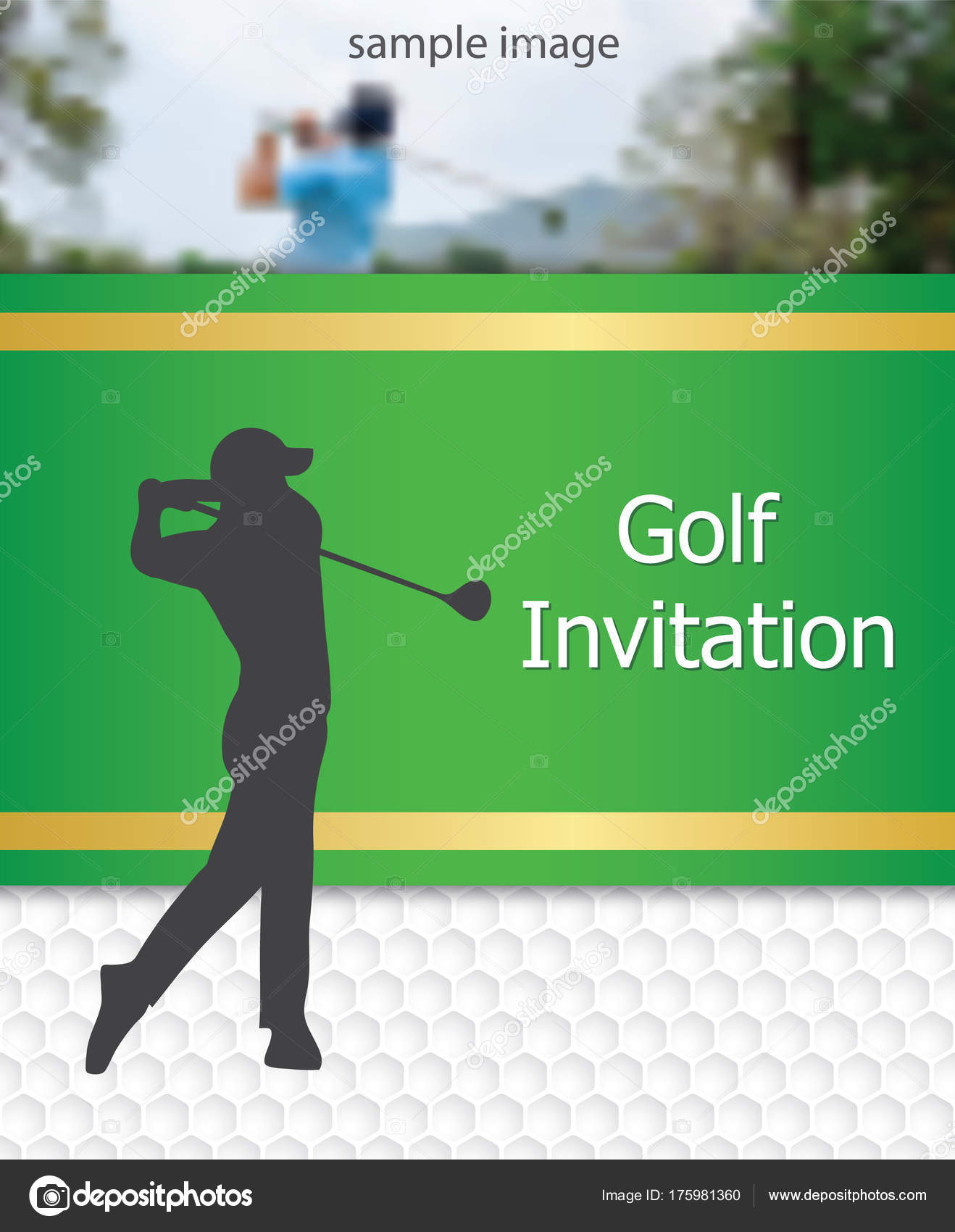 Golf tournament invitation flyer template graphic design golfer golf tournament invitation flyer template graphic design golfer swinging on golfball on golf ball pattern texture with sample image vector by mantinov stopboris Images