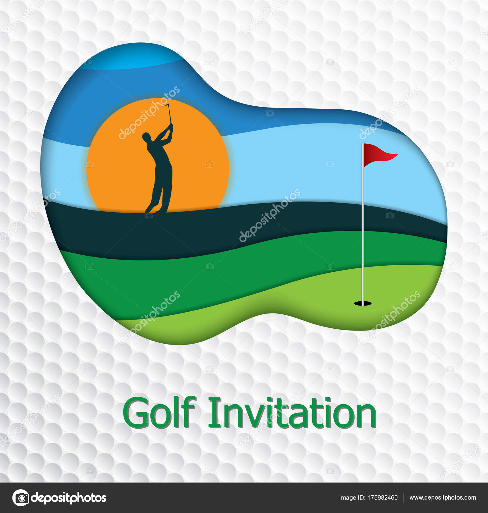 Golf tournament invitation flyer template graphic design golfer golf tournament invitation flyer template graphic design golfer swinging fairway stock vector stopboris Choice Image