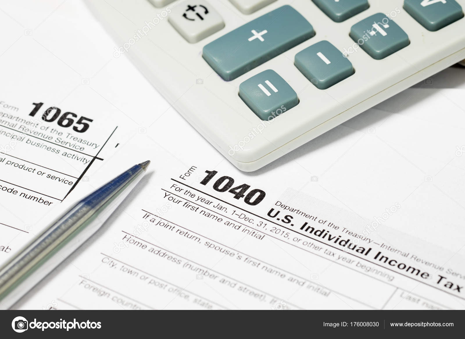 form 1065 and 1040  Tax Form 13 13 Pen Calculator — Stock Photo © mantinov ...