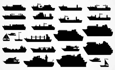 Vector set black silhouettes of different ships.