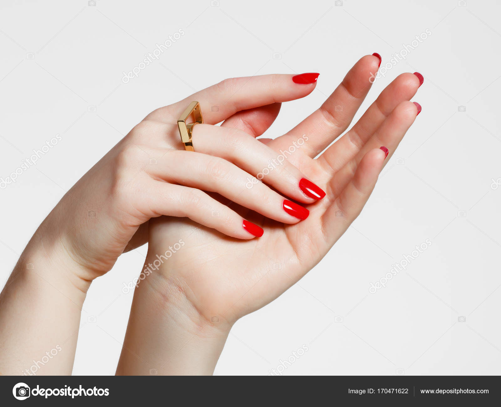 Beauty Delicate Hands With Manicure Close Up Beautiful Female Fingers Red Manicured Nails And Fashionable Gold Ring
