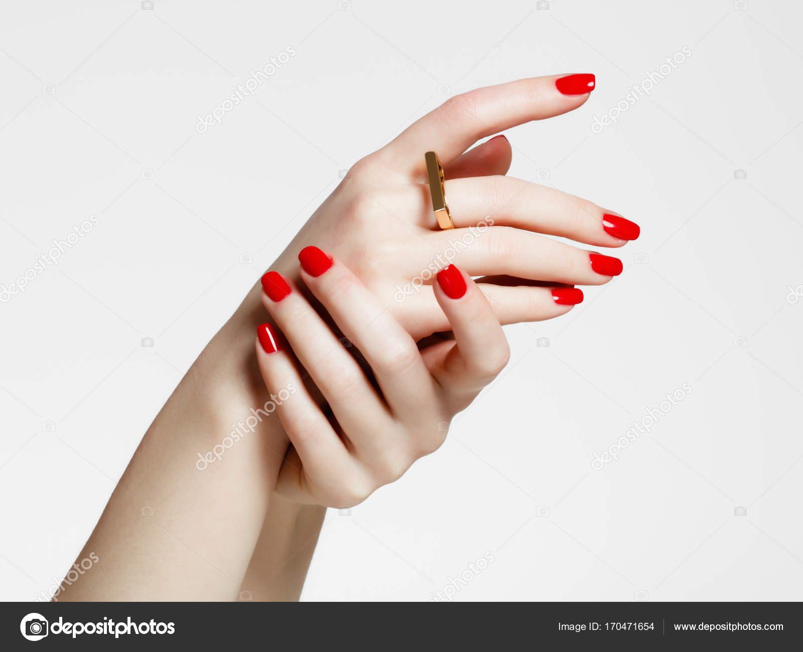 Beauty Delicate Hands With Manicure Close Up Beautiful Female Fingers And Fashionable Gold Ring Nails Great Idea For The