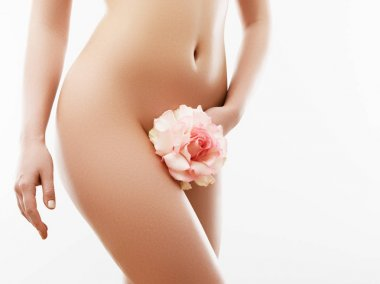 Body care and clean skin. Depilation concept. Waxing for beautiful woman. Brazilian laser hair removal bikini line and sexy body shapes. Sexy woman in spa