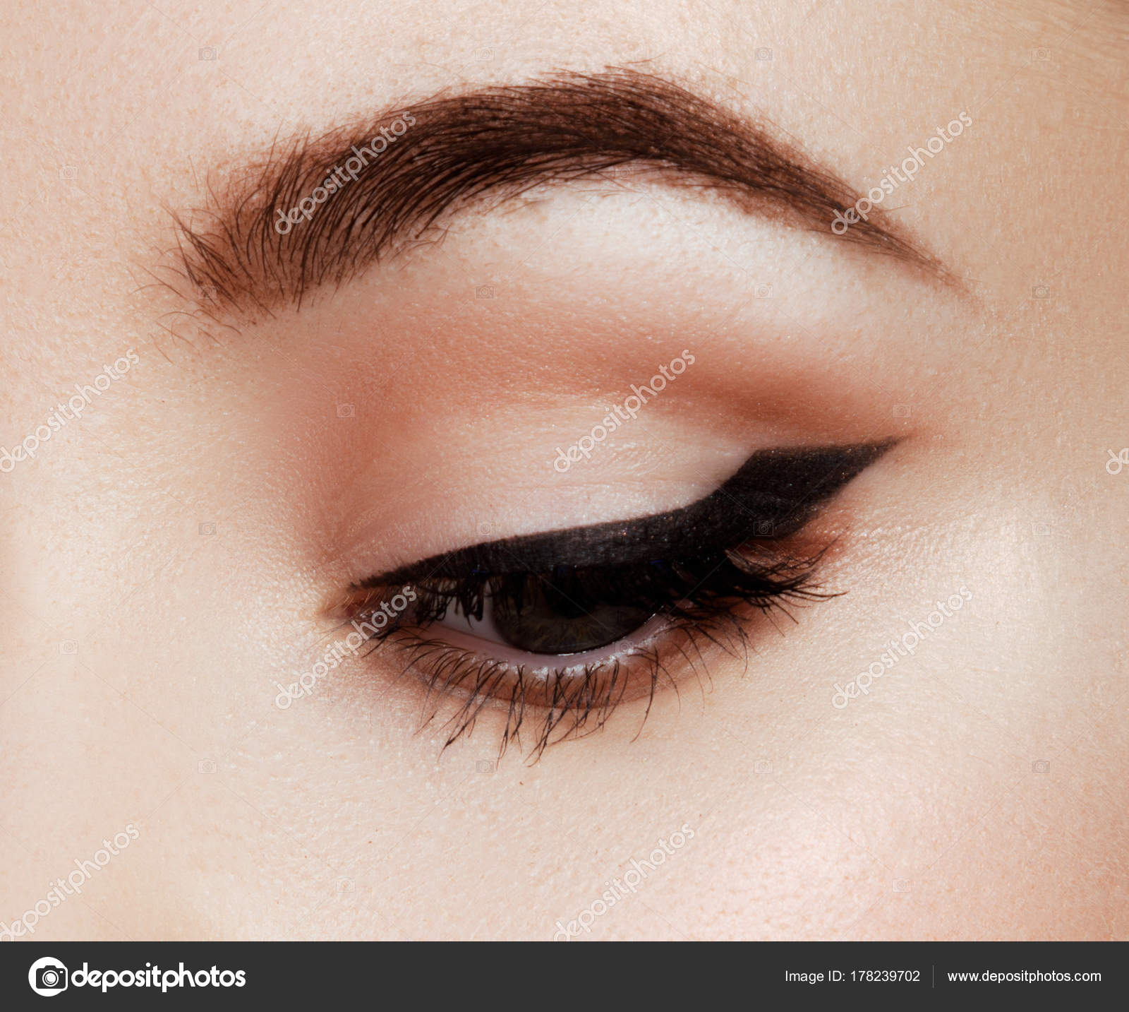 Makeup Artist Applies Eye Makeup Close Up Macro Of Beautiful Eye