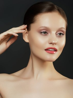 Woman beauty face portrait isolated on black with healthy skin. Beauty woman face portrait. Beautiful spa model girl with perfect fresh clean skin. Youth and skin care Concept