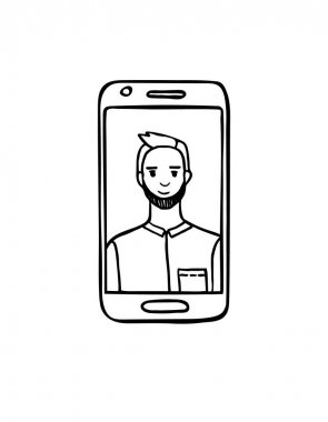 The guy on the phone screen.Simple black outline.