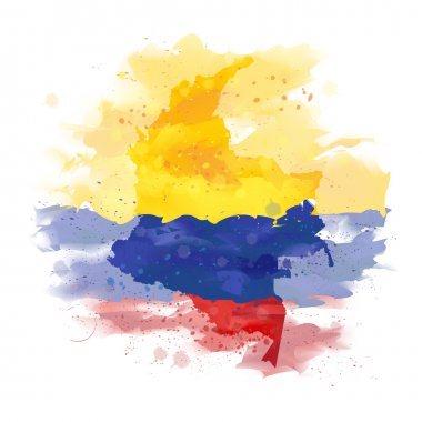 vector map of Colombia Watercolor paint