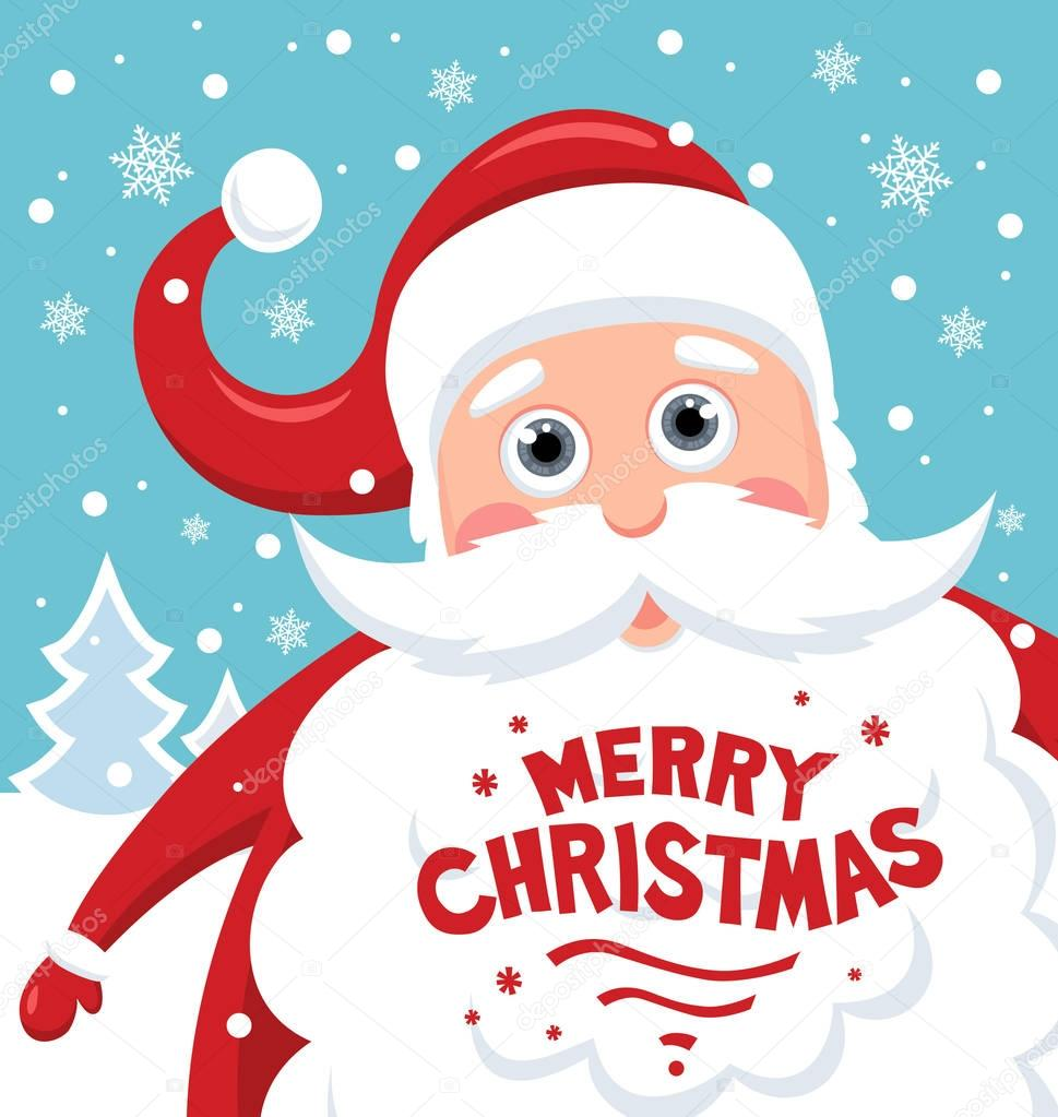 Santa Claus mit Schriftzug Frohe Weihnachten — Stockvektor ...