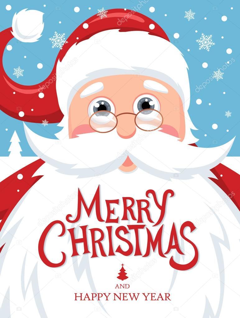 Kerstman met Merry Christmas belettering — Stockvector © Igor_Vkv ...