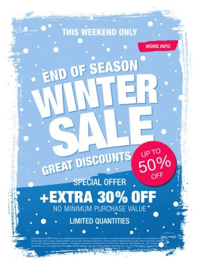 Winter 50 percent sale banner. Vector illustration stock vector