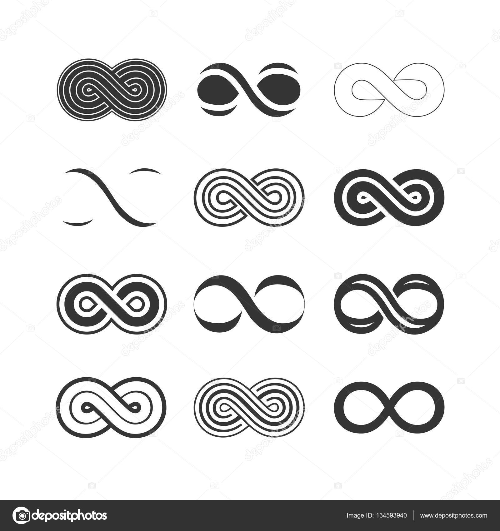 Set Of Infinity Symbols Stock Vector Igorvkv 134593940