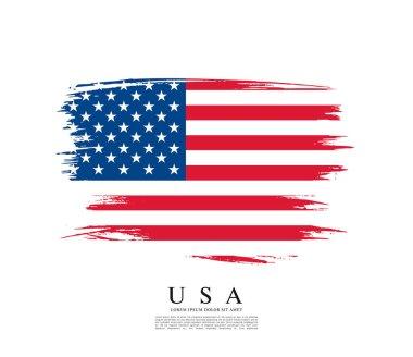 American flag made in brush stroke