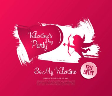 14th february. Valentines day poster template design stock vector