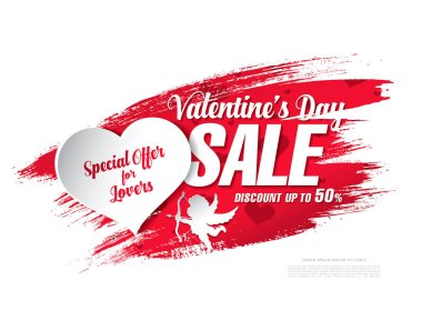 Valentine day sale red banner on white background stock vector